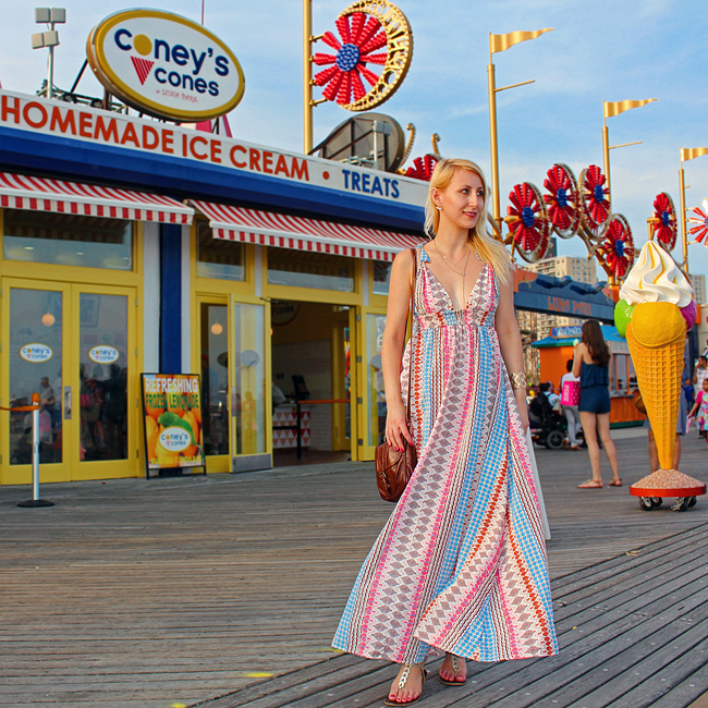 Lulu's Muli Print Maxi Dress at Coney Island