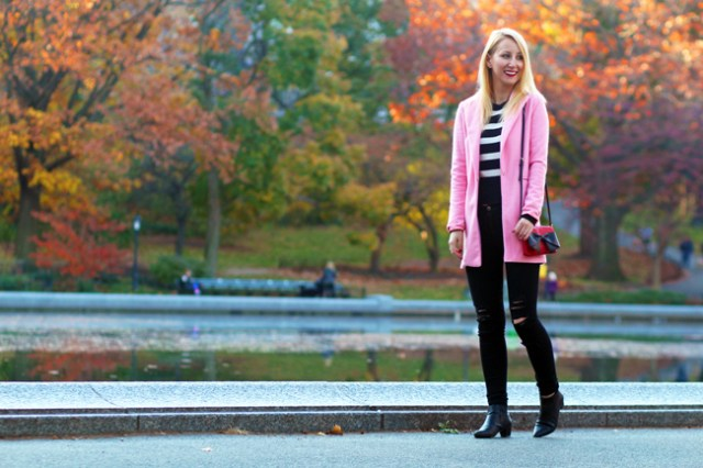 Pink Coat and striped sweater in Central Park