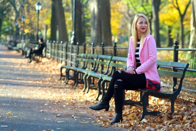 Pink-Coat-fall-central-park
