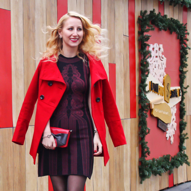 Holiday outfit - red coat and Max Studio Sweater Dress