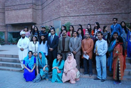 Students of UCAD - University College of Art and Design and fatima jinnah women university with Chief Guest Momin Agha