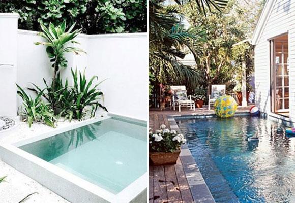 C mo tener una piscina en un patio peque o the Piscinas alargadas y estrechas