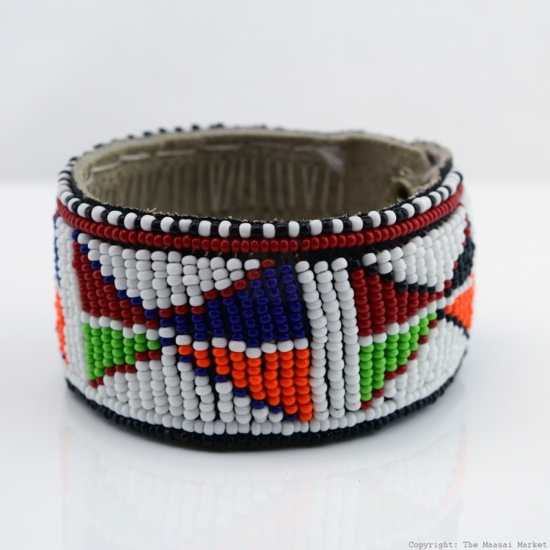 Maasai Bead Leather Bracelet Cuff 403 33