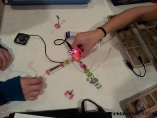 girls playing with littleBits electronic modules