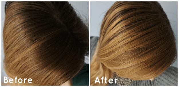 Before and after: DIY Hair Lightening Spray like John Frieda Go Blonder Spray | The Makeup Dummy