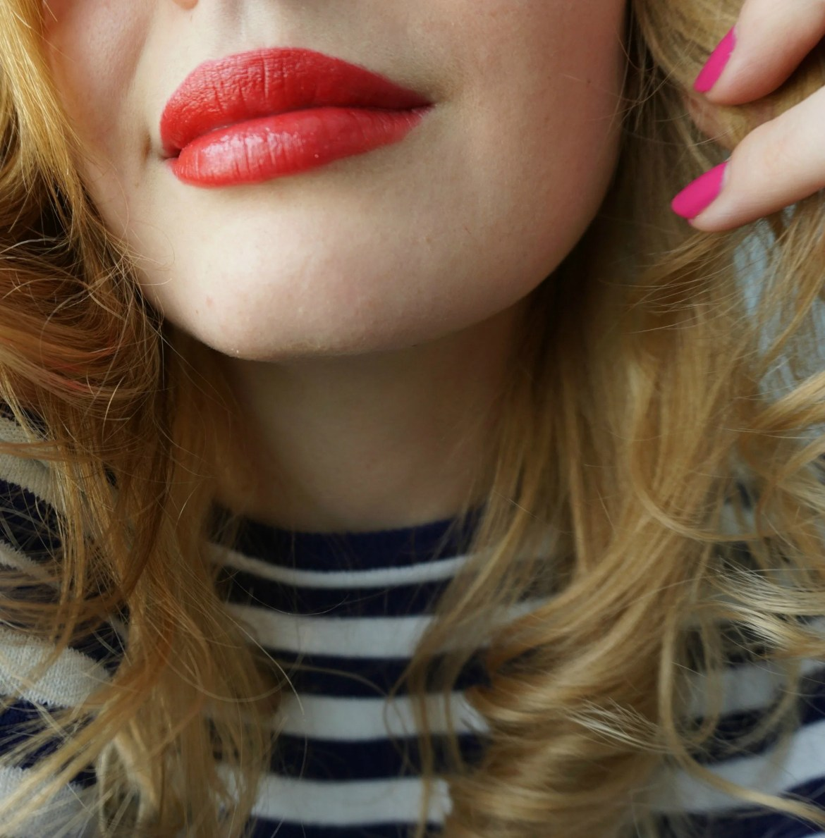 Red lips pink nails