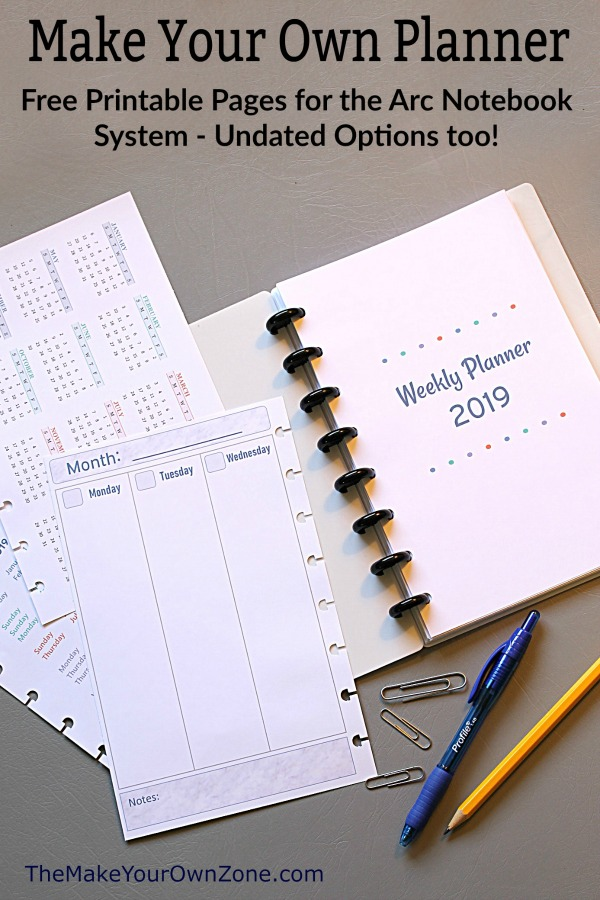 2019 Free Printable Planner Pages - The Make Your Own Zone