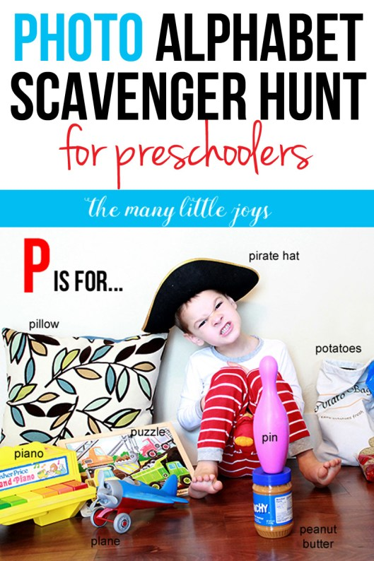This simple alphabet scavenger hunt game is a great way to get kids to connect the letters and sounds of the alphabet with concrete objects they encounter in every day life.