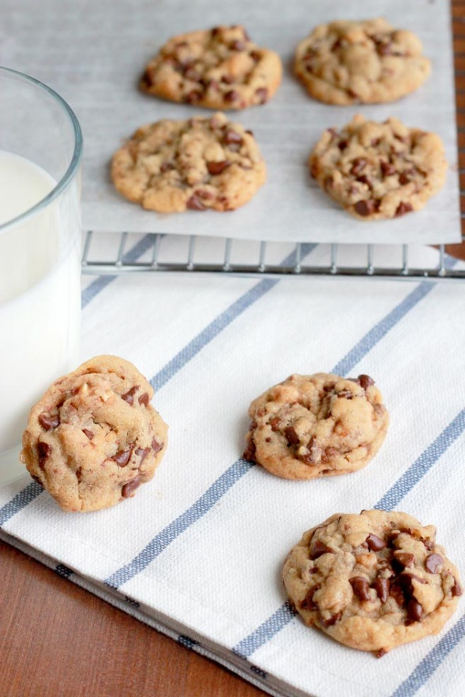 These mini toffee chocolate chip cookies are the perfect bite-size treat--crispy edges, chewy middle, and a perfect recipe for freezing ahead of time to use whenever the need for chocolate strikes.