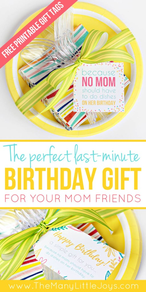 "Need a quick last-minute birthday gift for a mom friend? This simple ""meal with no dishes"" kit is a perfect way to say happy birthday to a mom around you who just needs a little break for her birthday. And...really...don't we all?"
