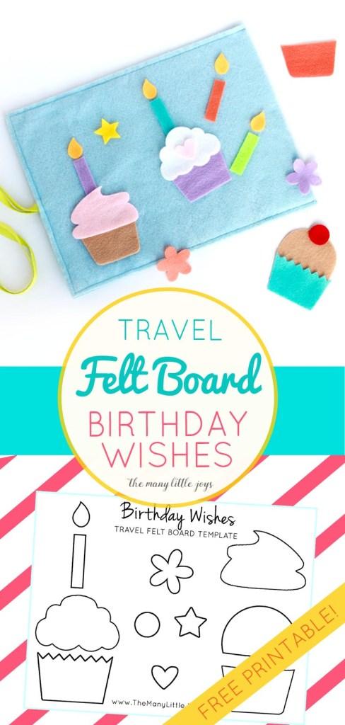 Travel Felt Board Birthday Wishes cupcake play set with free – Birthday Wish Template