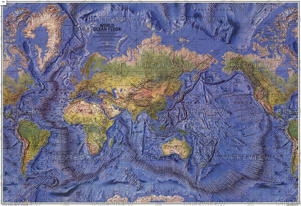 World Ocean Floor Published 1981 By National Geographic