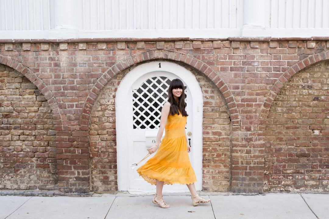 yellow anthropologie midi dress style-10