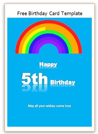 5th Birthday Card Word Template - Free Birthday Card