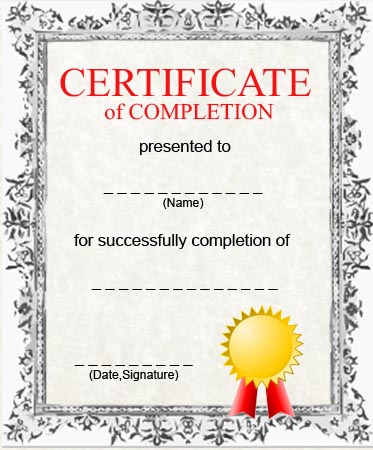 Free Printable Certificate of Completion Template - certification of completion sample