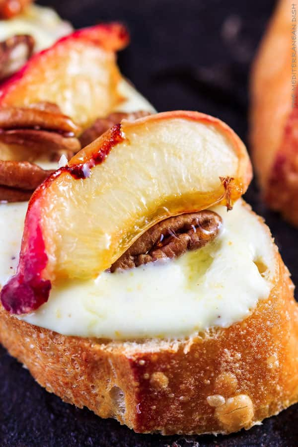 Roasted Peaches and Orange Whipped Greek Yogurt Crostini