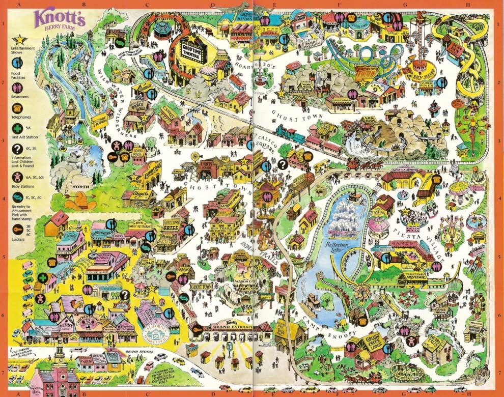 Knott\u0027s Berry Farm - 1996 Park Map