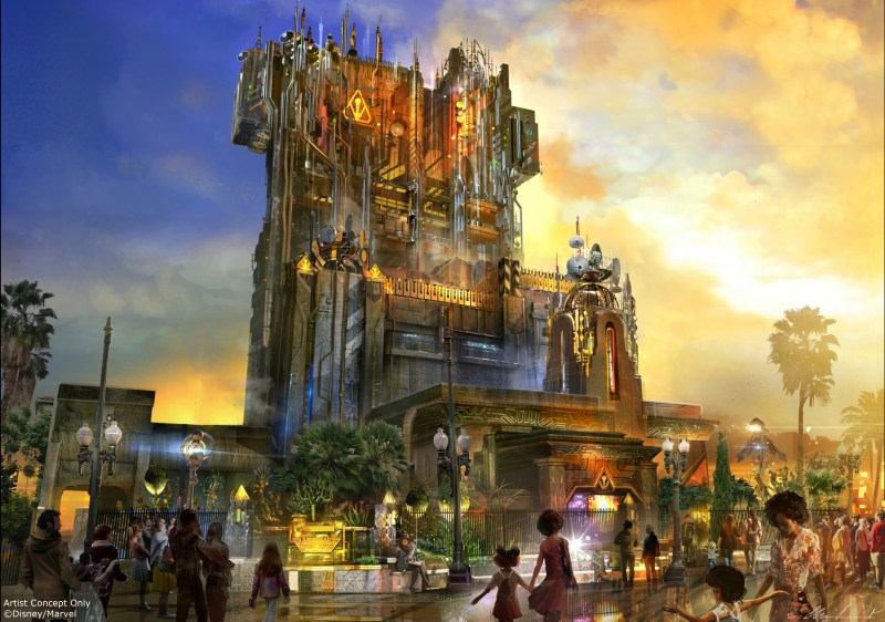 Guardians of the Galaxy Ð Mission: BREAKOUT! -- Debuting in summer 2017, Guardians of the Galaxy Ð Mission: BREAKOUT! will take Disney California Adventure park guests through the fortress-like museum of the mysterious Collector, who is keeping his newest acquisitions, the Guardians of the Galaxy, as prisoners. Guests will board a gantry lift which launches them into a daring adventure as they join Rocket Raccoon in an attempt to set free his fellow Guardians. The new attraction will transform the structure currently housing The Twilight Zone Tower of Terrorª into an epic new adventure, enhancing the breathtaking free fall sensation with new visual and audio effects to create a variety of ride experiences. Guests will experience multiple, random and unique ride profiles in which the rise and fall of the gantry lift rocks to the beat of music inspired by the filmÕs popular soundtrack. (Artist Concept/Disneyland Resort)