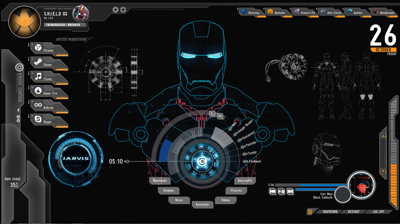 Cortana Animated Wallpaper Shield Iron Man Theme For Windows 10 8 7