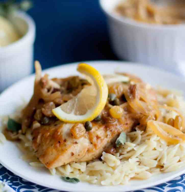 Greek Chicken with Capers and Raisins in Feta Sauce 7