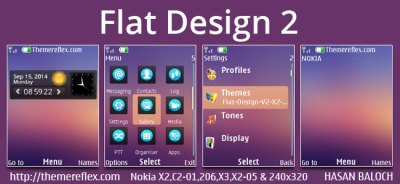 Flat Design Live theme for Nokia X2-00, X2-02, X2-05, X3-00, C2-01, Asha 206, 301, 2700, 6303i ...