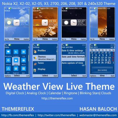 Weather View Live Theme for Nokia X2-00, X2-02, X2-05, X3-00, C2-01, 2700, 206, 208, 301 & 240 ...