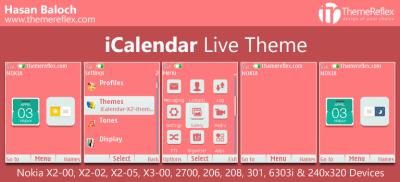 iCalendar Live Theme for Nokia X2-00, X2-02, X2-05, X3-00, C2-01, 206. 208, 301, 2700, 6303i ...
