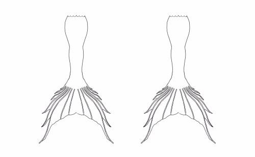 Medium Of Mermaid Tail Outline