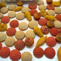 Tiny sweet bread-shaped candies, made from dulce de calabaza, at the sugar skull market in Toluca, Mexico