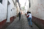 Walking up a typically narrow street in Taxco, in Guerrero state, Mexico