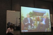 Ray Bradbury and his biographer, Sam Weller, appear via videoconference at the Feria Internacional de Libros in Guadalajara, Mexico