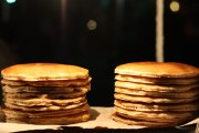 Fluffy pancakes, sold by the pancake vendor at Reforma and Rio Sena in the Cuauhtemoc neighborhood of Mexico City