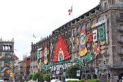 Decorations in the Zocalo, part of the Bicentenario Celebration in Mexico City