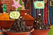 Mounds of artistically arranged mole paste at the Feria Nacional del Mole in San Pedro Atocpan, Mexico.