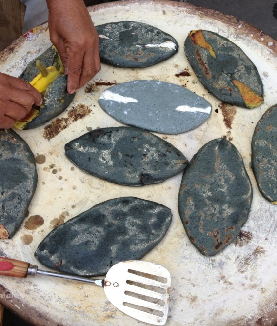 Blue corn tlacoyos at the tianguis in Santiago Tianguistenco, 2013.