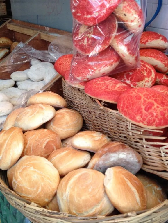 Bread outside a market in Puebla. You don't generally see the pink-sugar variety in DF.