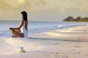 Mindfulness of breath - in meditation on the beach