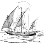 lateen, sail, triangular, square, rigged, sail, ship, vessel