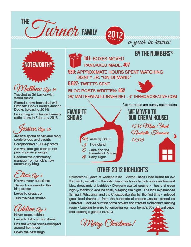 Infographic Christmas Letter - The Mom Creative - christmas card letter templates