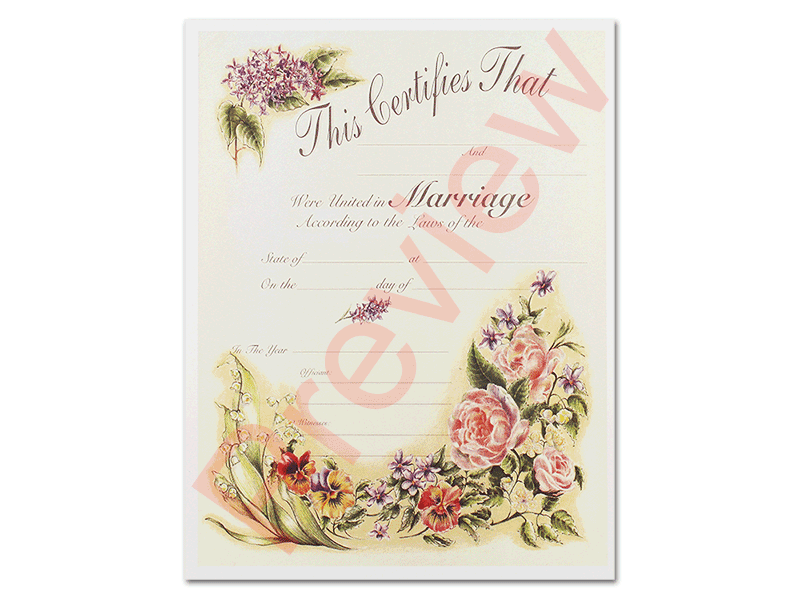Antique Marriage Certificate #1 Marriage Certificates