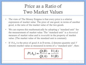 Price as Ratio of Two Market Values