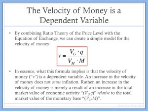 Velocity of Money is a Dependent Variable