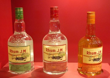 Rhum J.M bottles on display in the distillery's boutique. White Rhum Agricole and Golden Rhum Agricole (the colour is a natural result of aging in oak casks). Credit: Julie Kalan