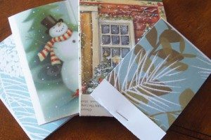 Holiday Card Upcycle - The Mummy Toolbox - Card notepads