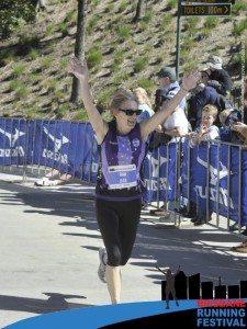 Never Too Old To Run - Sue Running the marathon