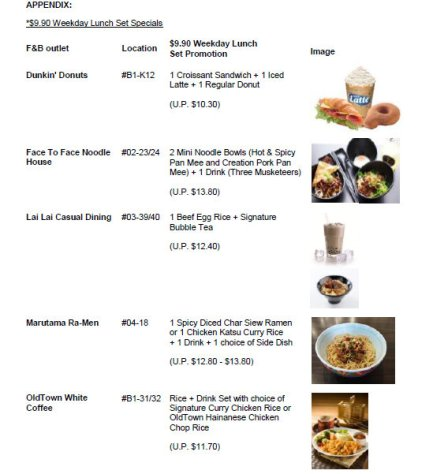 City Square lunch promotions