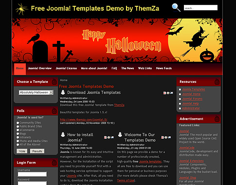 Absolutely Halloween - Free Joomla Template from ThemZa - halloween website template