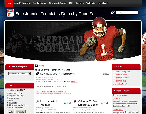 American Football - Free Joomla 15 Template from ThemZa