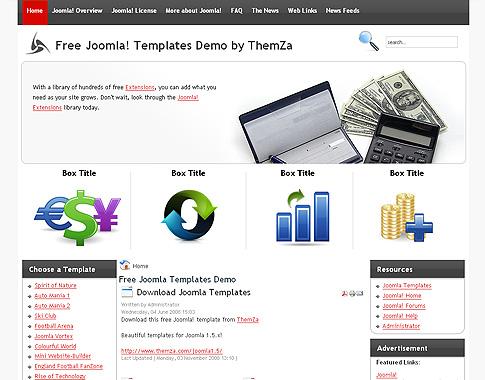 Free Joomla 15x Templates Financial Calculator by ThemZa - marketing calculator template
