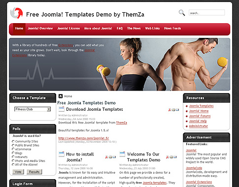 Fitness Mania - Free Joomla Template from ThemZa - Fitness Templates Free